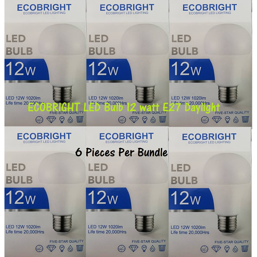 Daylight Led Bulb Ecobright E27 6pcs 12w MpzVSU