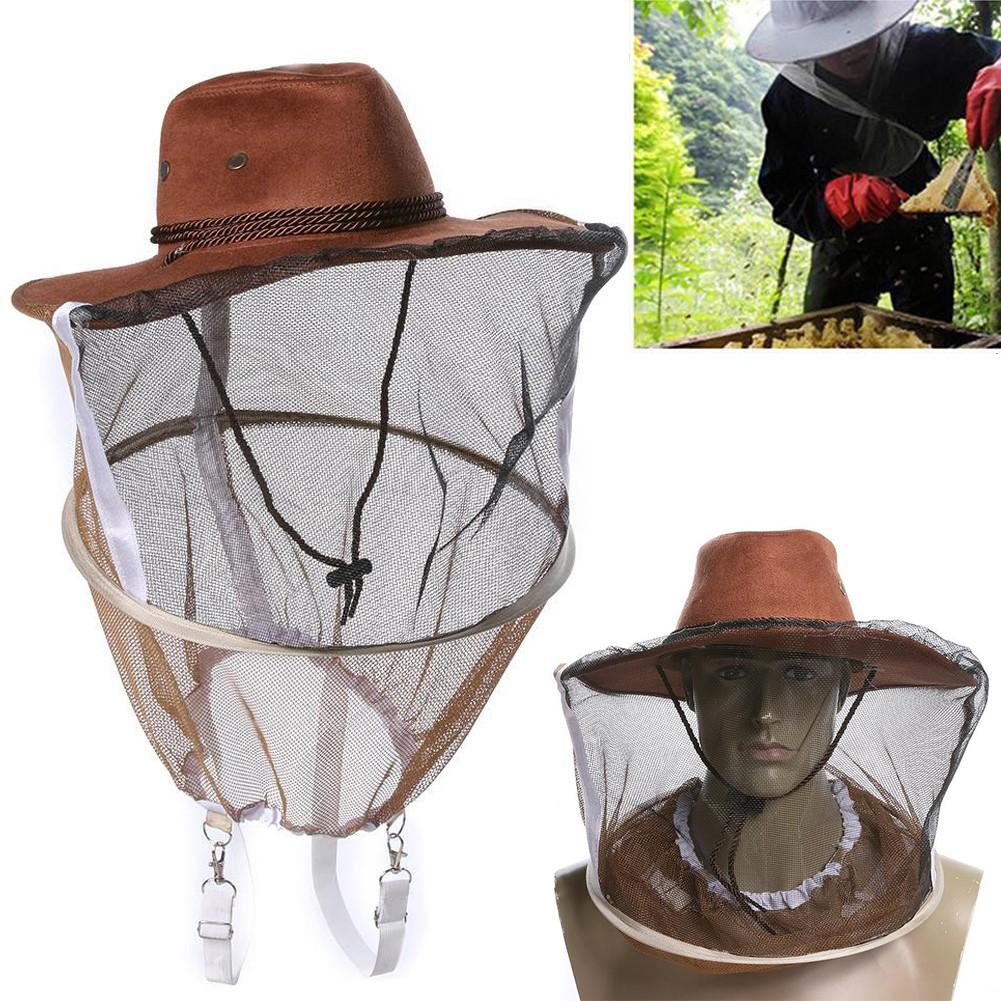 1Pcs Beekeeping Cowboy Hat Mosquito Bee Insect Net Veil Hat Face Head Protector
