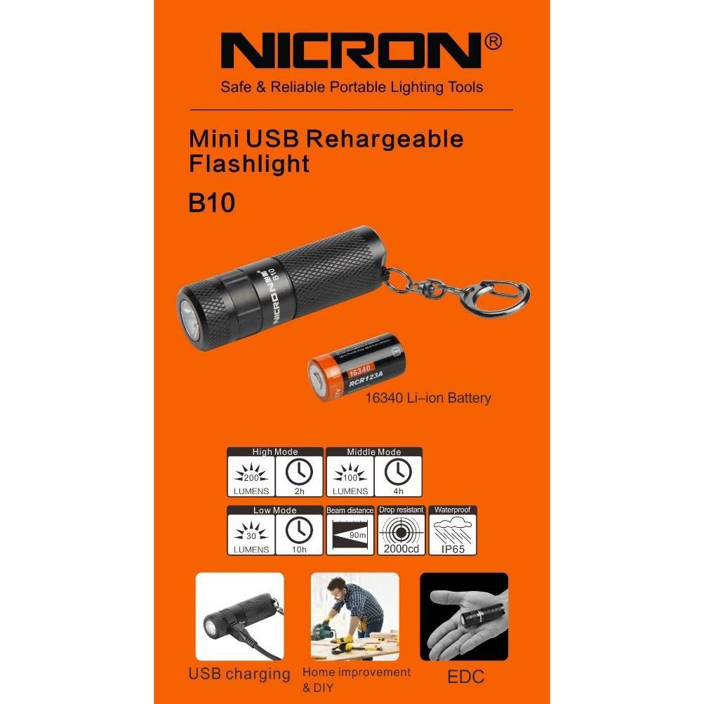 B10 NICRON HEAVY DUTY MINI RECHARGABLE FLASHLIGH TORCH LIGHT LAMP IP65