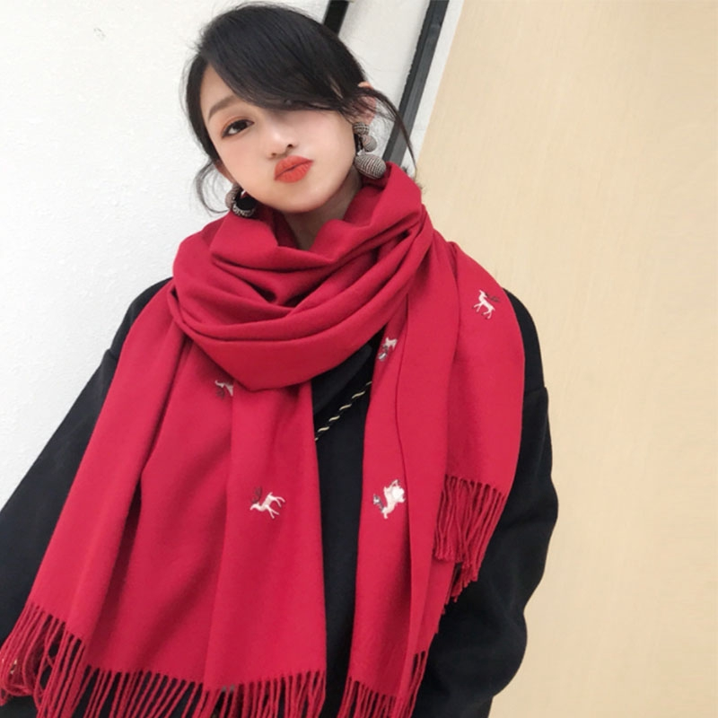 7aa2283a51483 ProductImage. ProductImage. Embroidered deer couple scarf female Christmas  scarf warm thickened long shawl