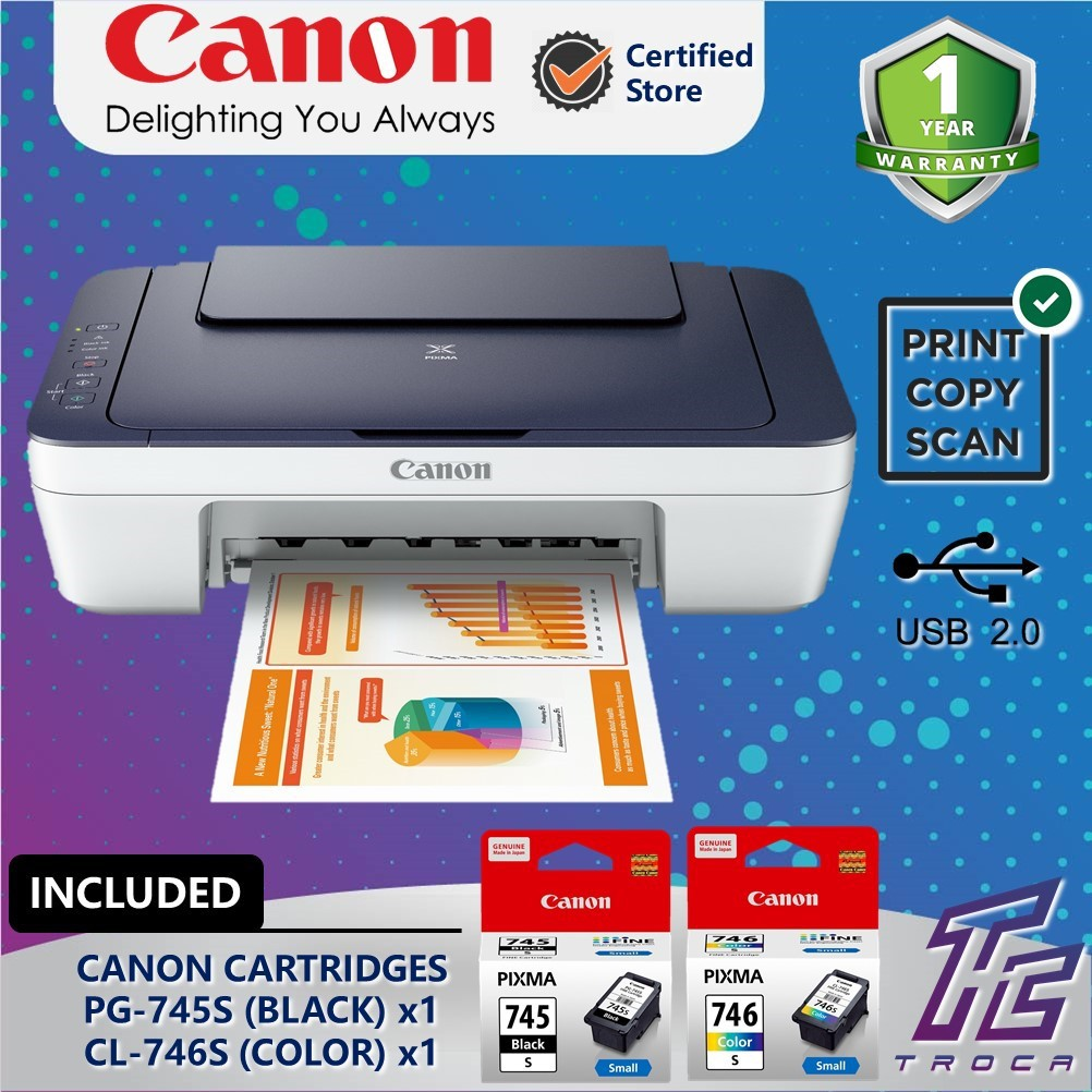Canon Pixma MG2577S Low Cost Cartridges All-In-One Low Cost Home Use Colour  Printer (Print/Scan/Copy)