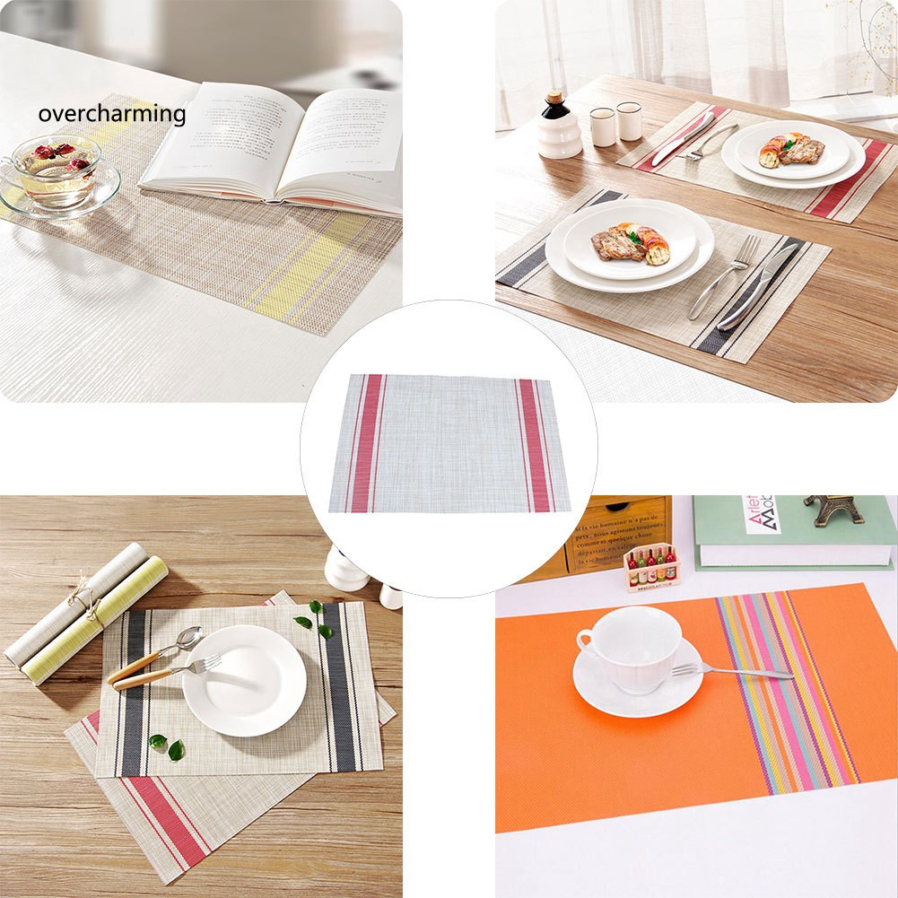 Kitchen Dining Bar Striped Linen Cotton Napkin Placemat Heat Insulation Dining Table Mat Home Decor Rudisbakery Com
