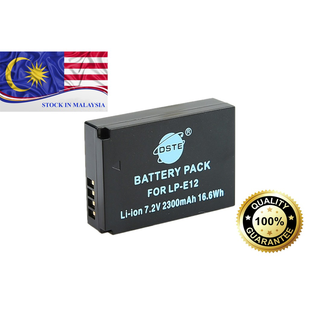 DSTE LP-E12 Li-ion Battery for Canon EOS M M2 100D Kiss X7 Rebel SL1 (Ready Stock In Malaysia)