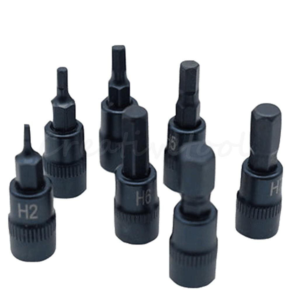"7pc Hex Socket Bit Set H2 H3 H4 H5 H6 H7 H8 Screwdriver Bit 1//4/"" Drive Socket"