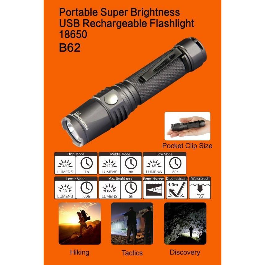 B62 NICRON IP65 HEAVY DUTY RECHARGABLE FLASHLIGHT TORCHLIGHT PORTABLE LIGHT