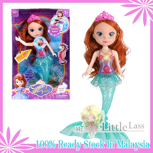 Mermaid Princess Doll Toy with Rainbow Flash Lights and Music 2 Colors