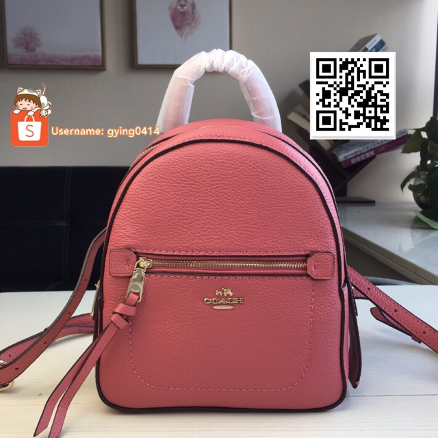 61061c99631 Coach F30530 Pebbled Leather Andi Backpack Small Handbag Bag Light Pink  Mini Beg