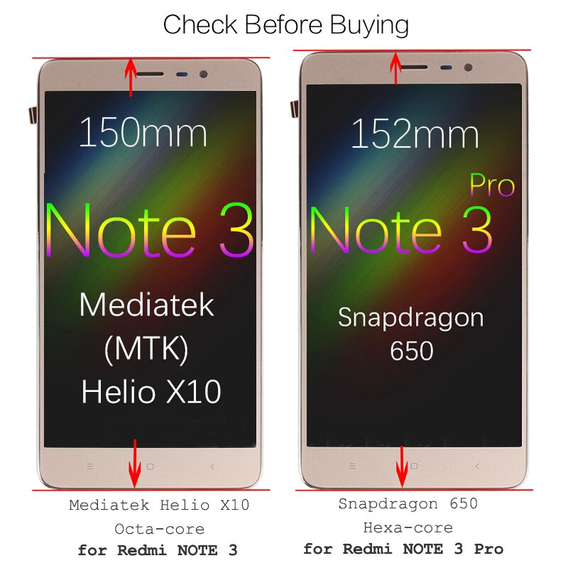 big sale 6f087 f6fcd 150mm MTK for a XIAOMI Redmi Note 3 LCD Display Touch Screen with Frame  152mm for XIAOMI Redmi Note 3 Pro LCD SE Prime