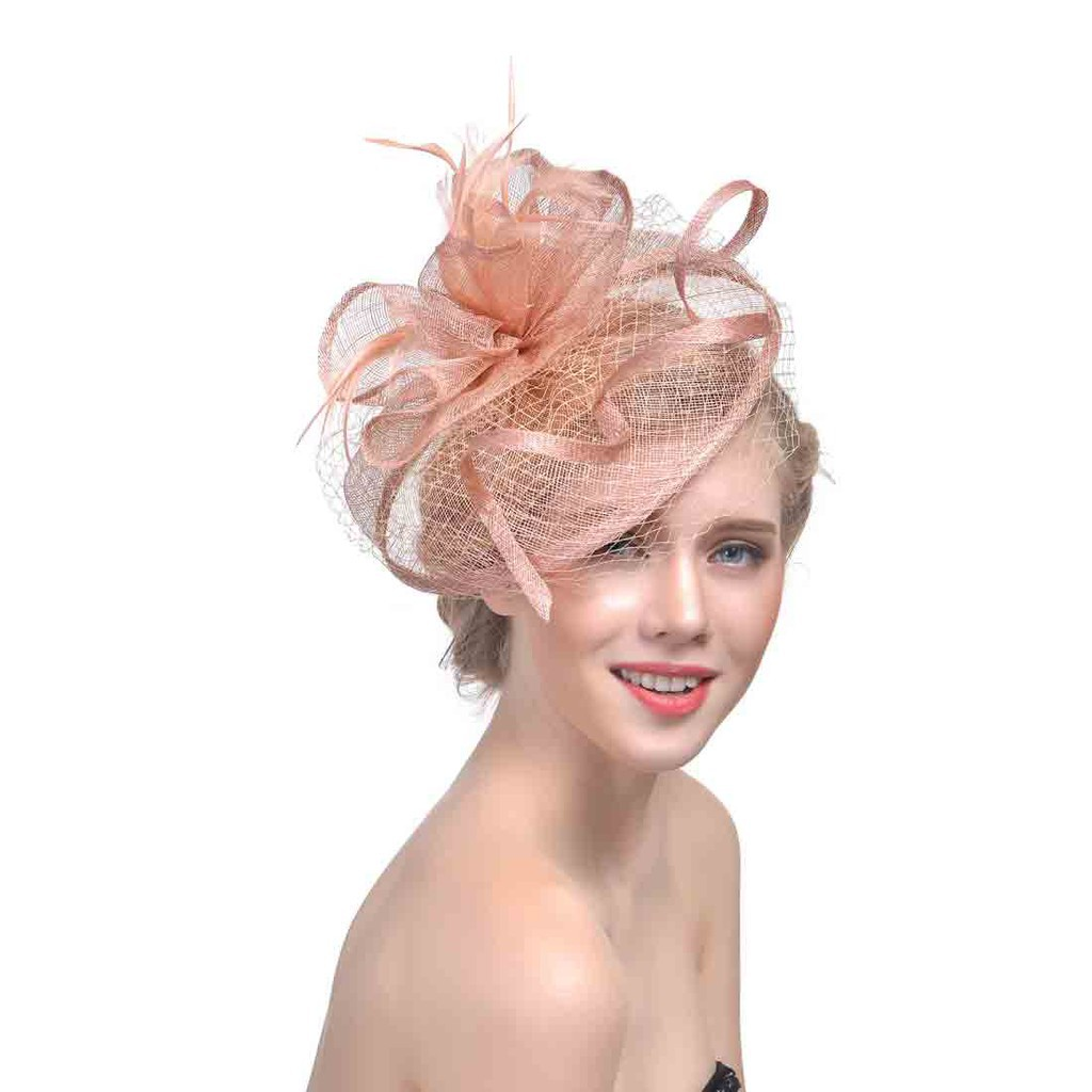 f2f14369 Ladies Royal Wedding Races Cocktail Women Linen Feather Hat Party Fedora  Cap | Shopee Malaysia