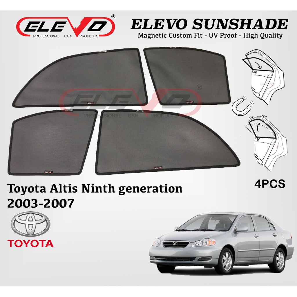 Toyota Altis 2003 to 2007 ELEVO Magnetic Custom Fit Sunshade 4pcs