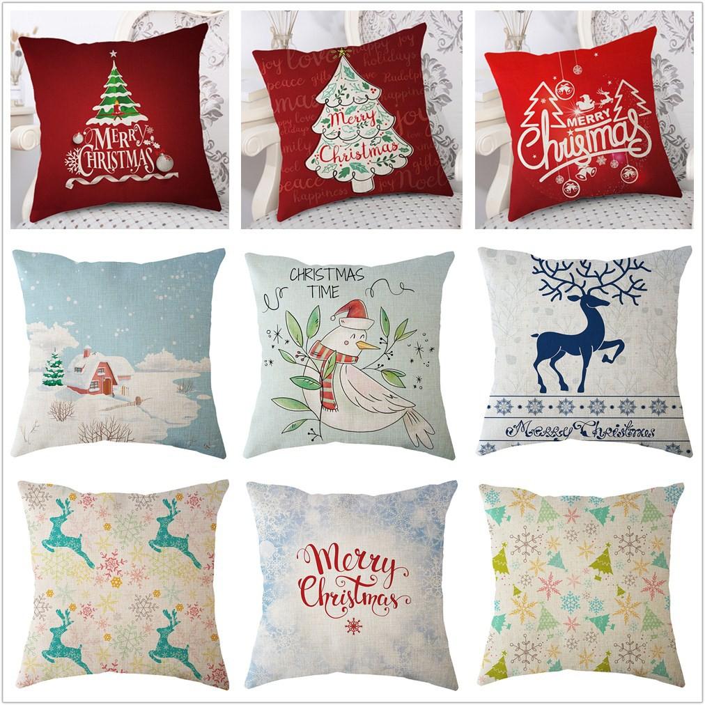Linen Cotton Pillow Case Sofa Car Pillowcase Cushion Cover For Christmas  Decor
