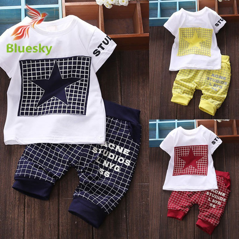 Cotton Newborn Baby Infant Boy Clothes Sets T-shirt + Plaid Pants Outfits