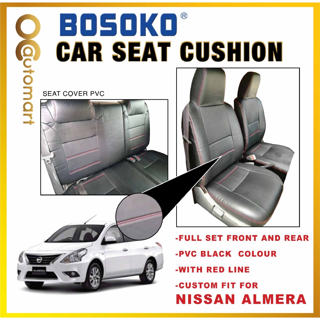 Nissan Almera - Custom Fit OEM Car Seat Cushion Cover PVC Black Colour Shining With Red Line
