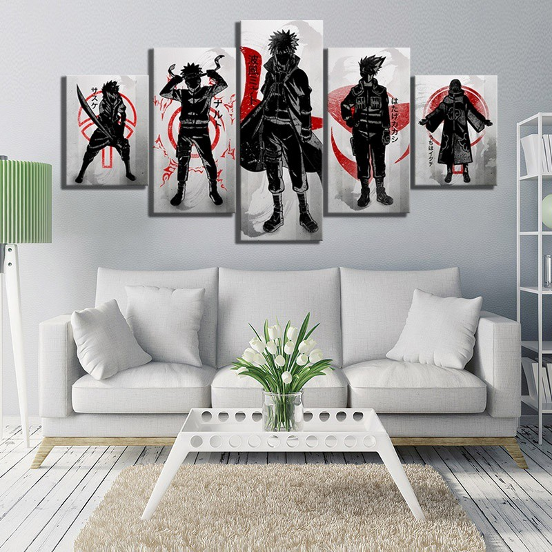 5 Piece Hd Drawing Art Naruto Anime Poster Cartoon Canvas Paintings For Living Room Wall Decor Shopee Malaysia