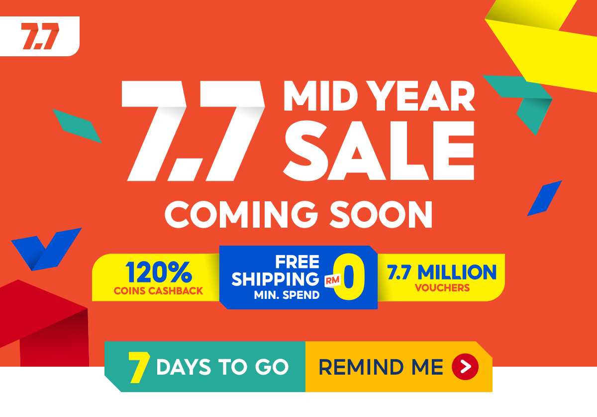 Join us this 7.7 Mid Year Sale for irresistible deals, discounts, and free shipping vouchers!