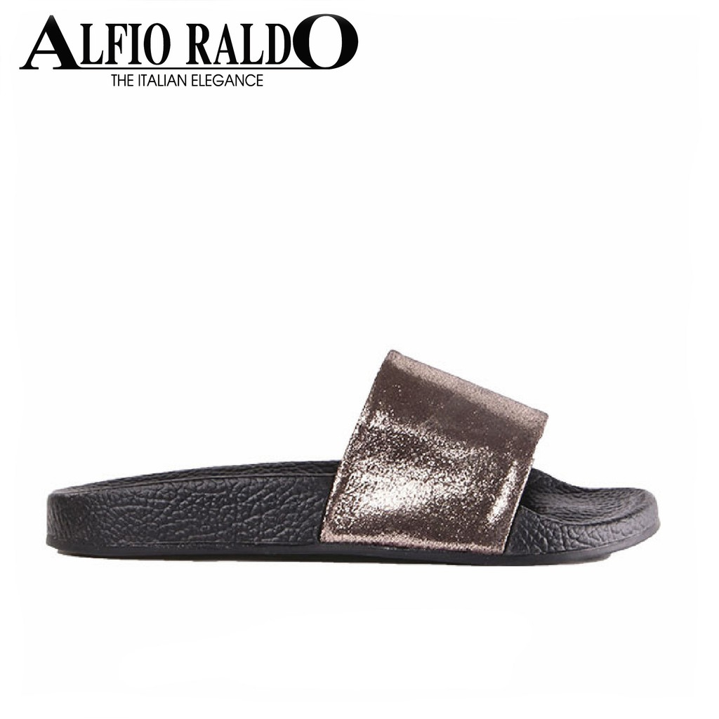 Alfio Raldo Black Soft Padding Sandals with Shiny Top Fabiric Finish