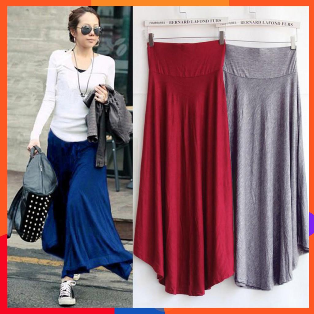 d0546554d6d0e 👆👆 Modal Cotton 👆 Women Casual Soft Long Maxi Skirt Solid Color High  Waist