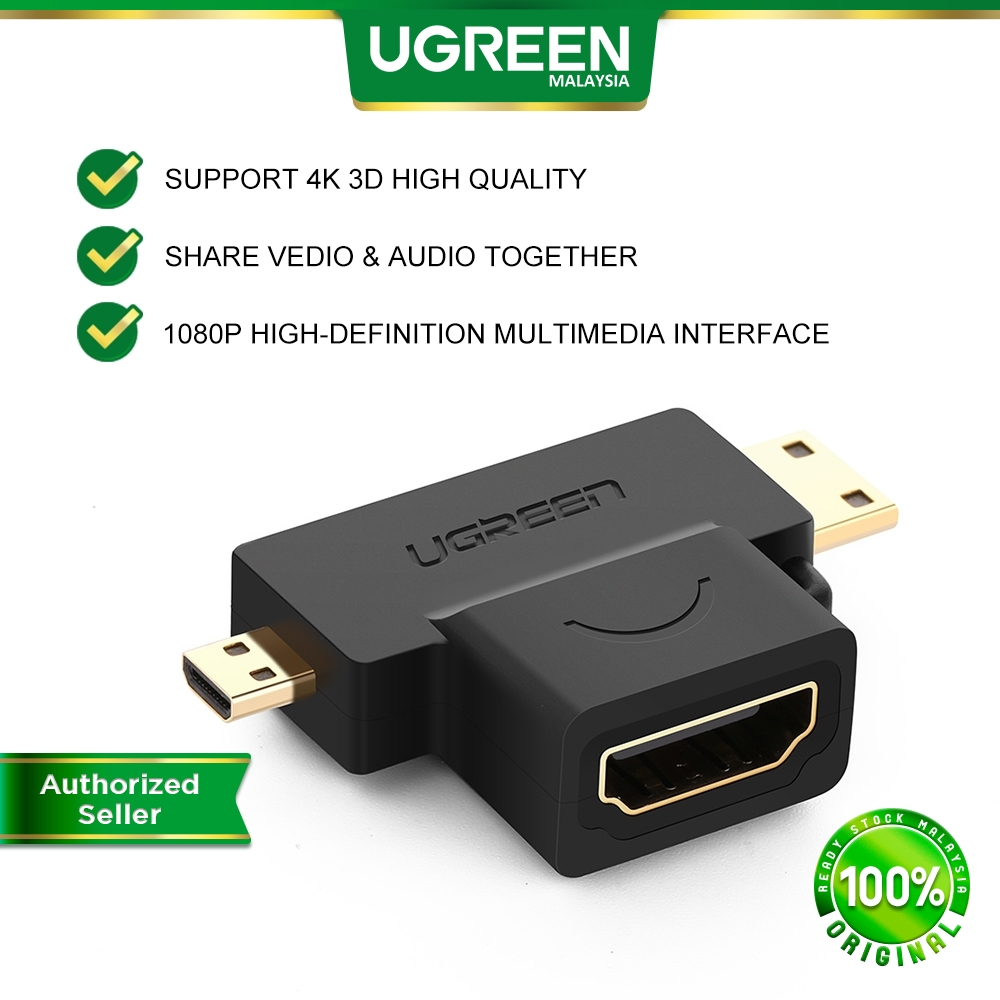 UGREEN 2 in 1 Mini HDMI and Micro HDMI Male to HDMI Female Adapter 1080P High Definition Multimedia Interface GoPro