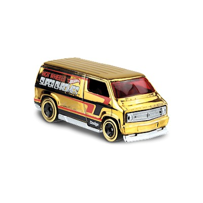 Hot Wheels CUSTOM '77 DODGE VAN #23/250 ✰Gold✰SUPER CHROME ✰Hot Wheels 1/64 diecast model