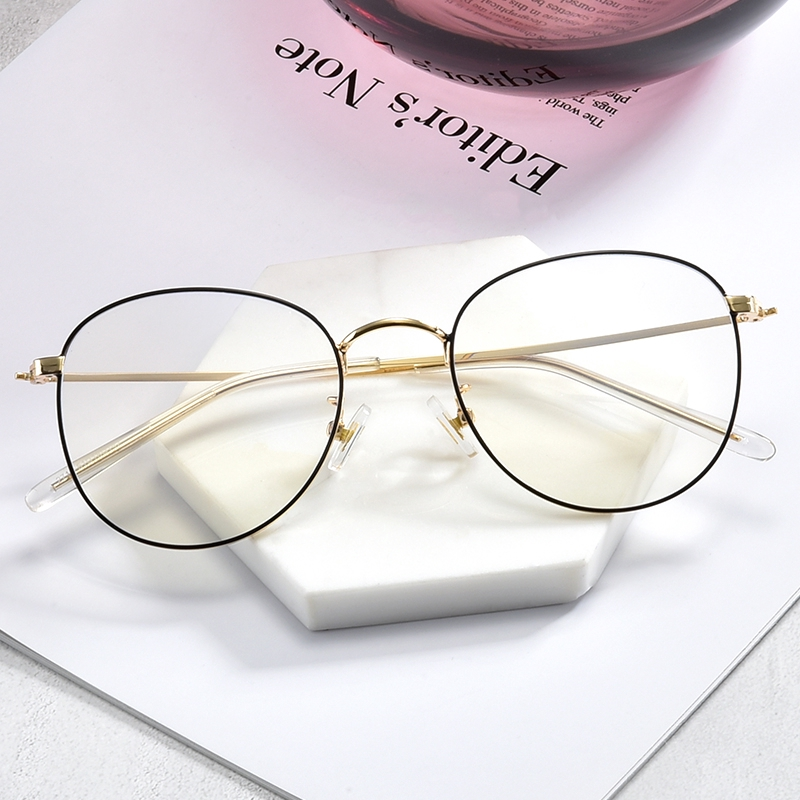 Anti-blue radiation glasses goggles flat mirror no degree retro round frame men and women with the same paragraph rose gold