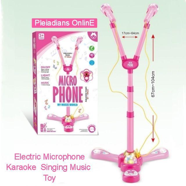 [ READY STOCK ]  Electric Microphone Karaoke Microphone Singing Music Baby Toy Birthday Gift Kid Budak Jualan Murah Raya