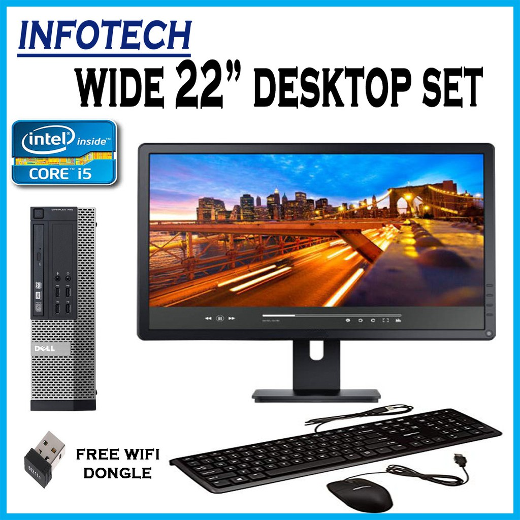 Full hd complete desktop pc set Dell Intel i5 3 4ghz 4GB 500GB + 22