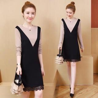 Mock Two Piece Suspender Dress Plus Size