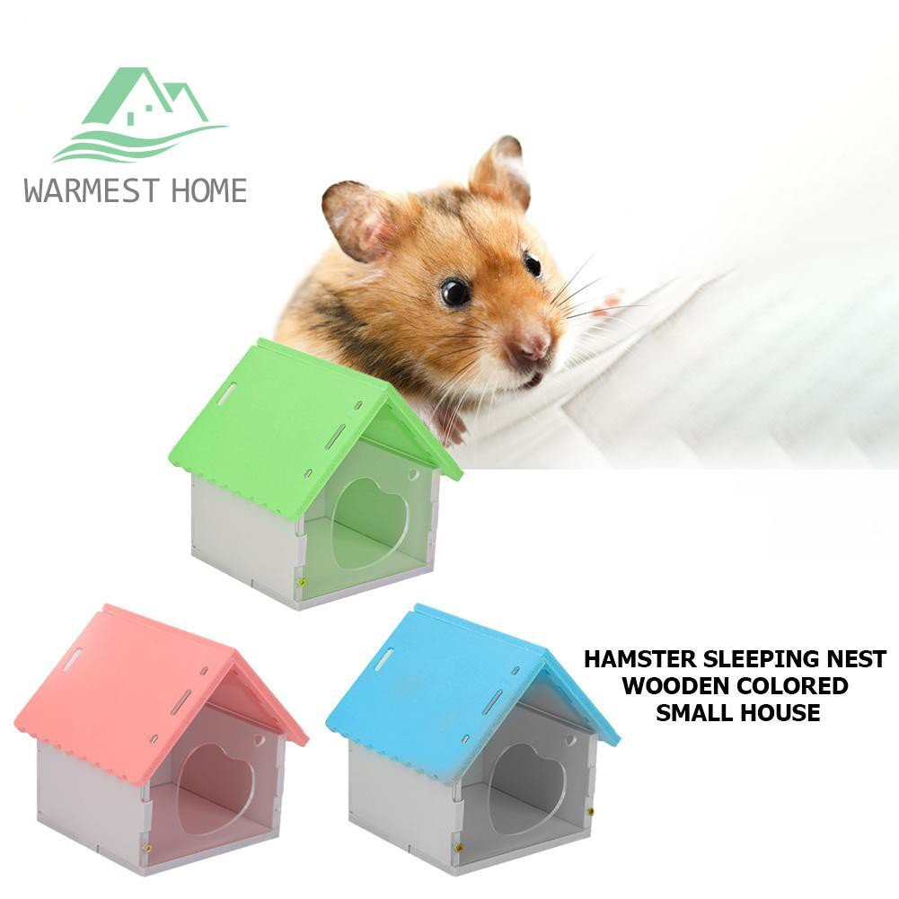 ღNewღWooden Hamster Nest House Small Pet Animal Playing Cage Sleeping Bed  Castle