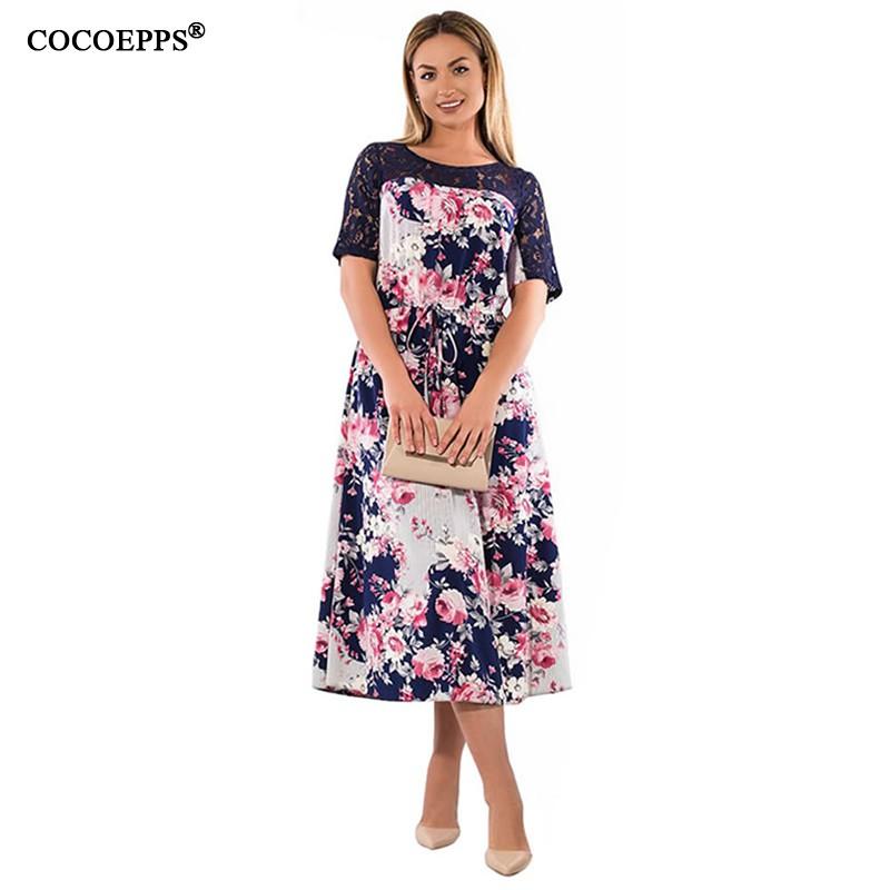 0c91593cadfa1 Floral Print Plus Size 6XL 5XL Women Lace Patchwork Lady Casual Maxi Dress