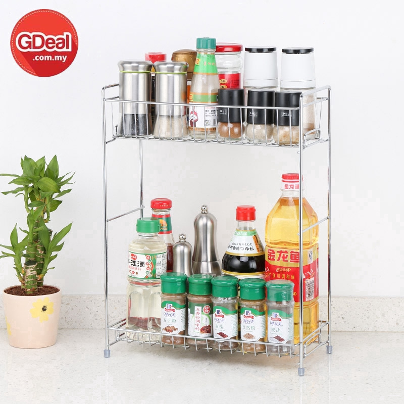 GDeal Stainless Steel Double Layers Shelf Rack Kitchen Spice Seasoning Carrier Rack
