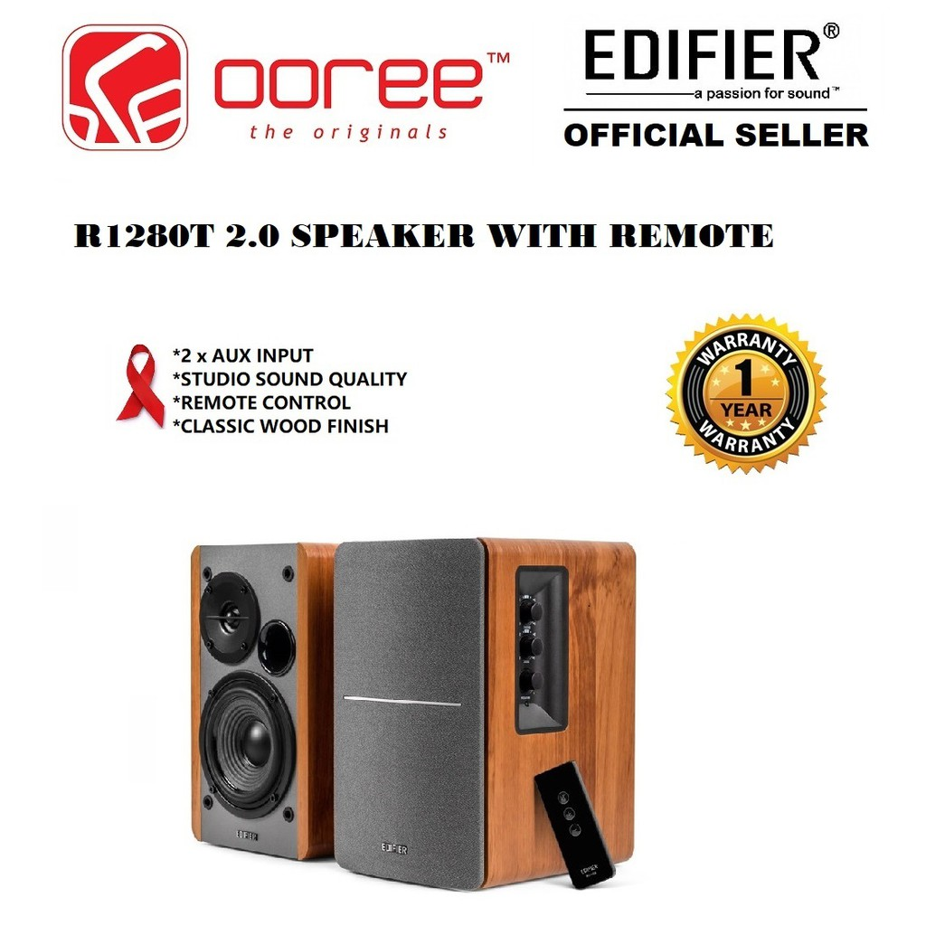 EDIFIER R1280T POWERED BOOKSHELF SPEAKER WITH PRECISE CONTROL AND WIRELESS  REMOTE CONTROLLER DUAL RCA INPUT