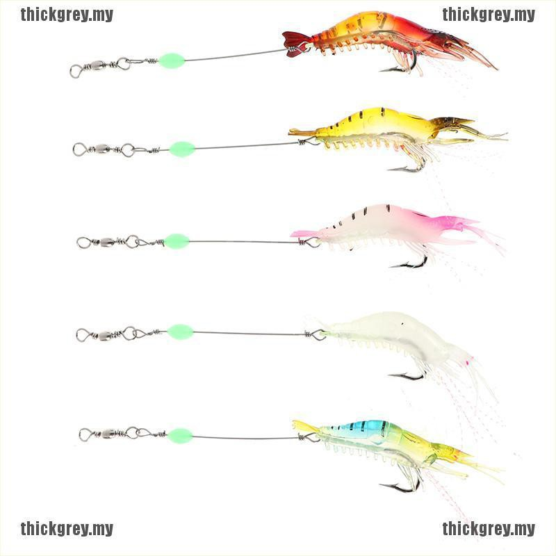 5pcs Soft Shrimp Bait Luminous Silicone Prawn Fishing Lures Hook Bait 5 Colors