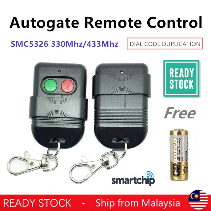 AutoGate Door Remote Control SMC5326 330MHz 433MHz Auto Gate Free Battery  Wireless Remote