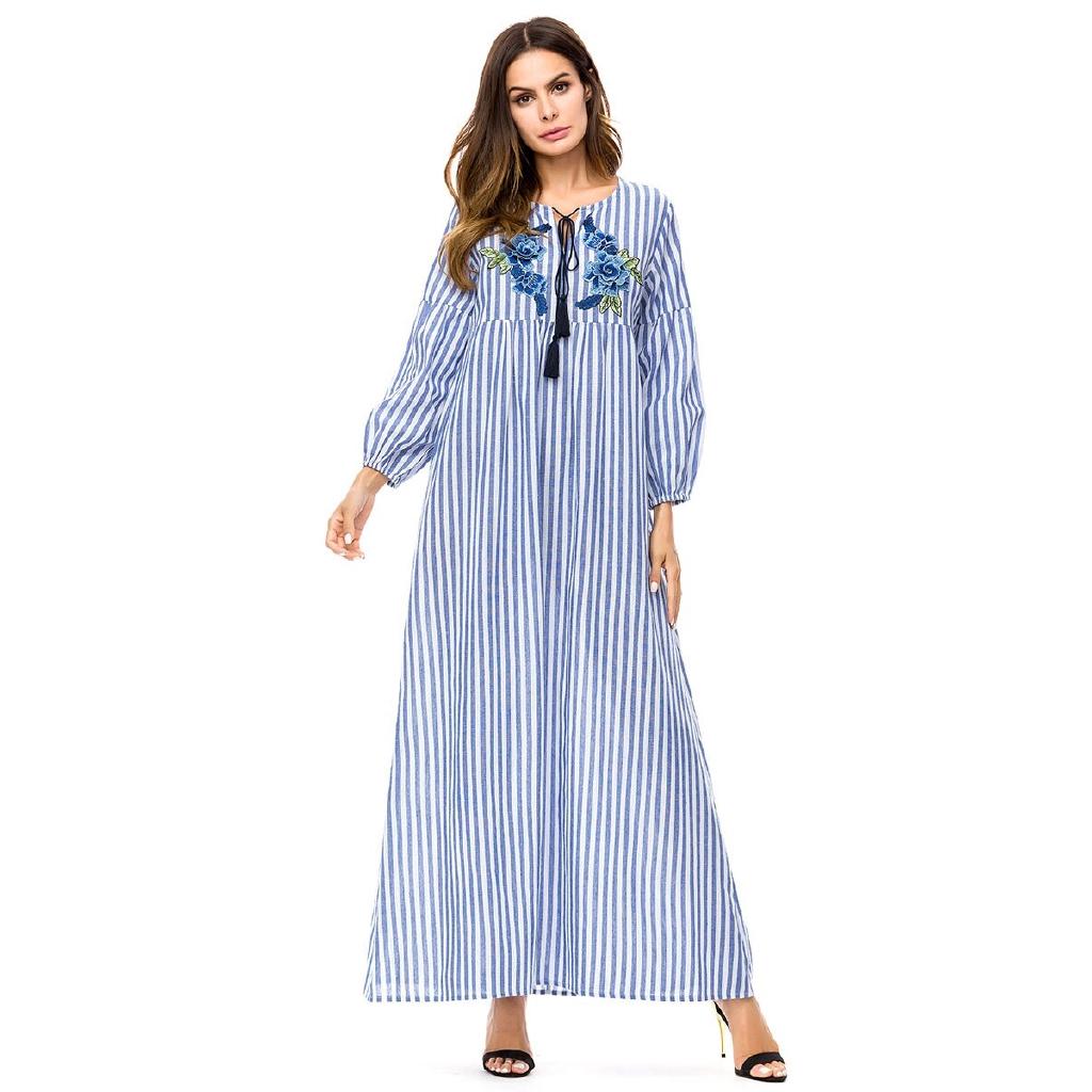 ad5931be6e714 Casual Maxi Dress Embroidery Abaya Plus Size Kimono Loose Style Vintage  Long Robe Bohemia Swing Muslim Islamic Clothing