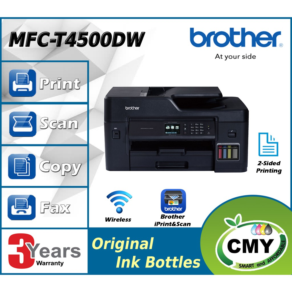 Brother MFC-T4500DW Refill Ink Tank All-In One A3 Duplex Wireless Network Borderless Printer