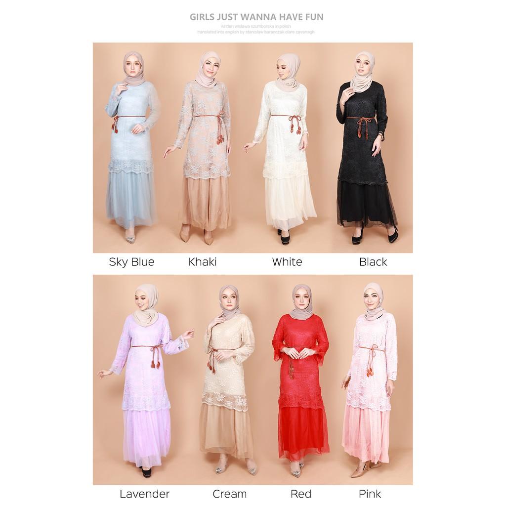 READY STOCK] LARA JUBAH DRESS KAIN CHIFFON LACE FULL LINING / BAJU TUNANG/ MERISIK/ LARA FLORAL LACE JUBAH DRESS