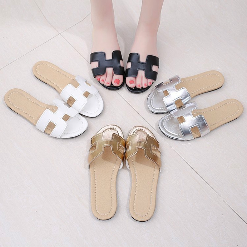 ef3f20d34 Women Summer Flat Sandals PU Leather Comfy Casual Wear Slippers for ...