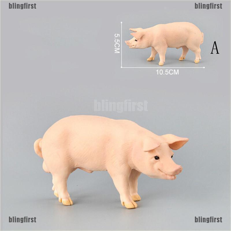 Simulation Animal Pig Model Toy Figurine Decor Plastic Animal Model Kids Gift