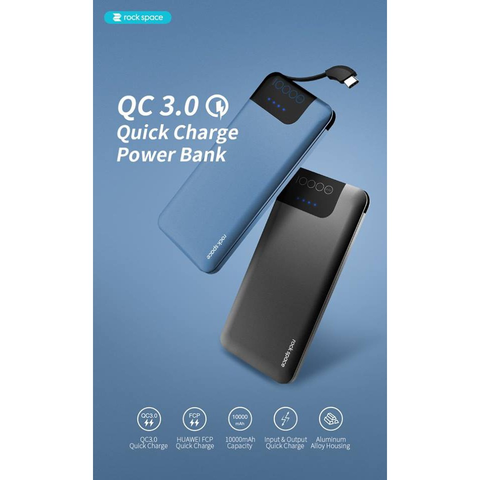rock space P40 QC3 0 Fast Charger Power Bank