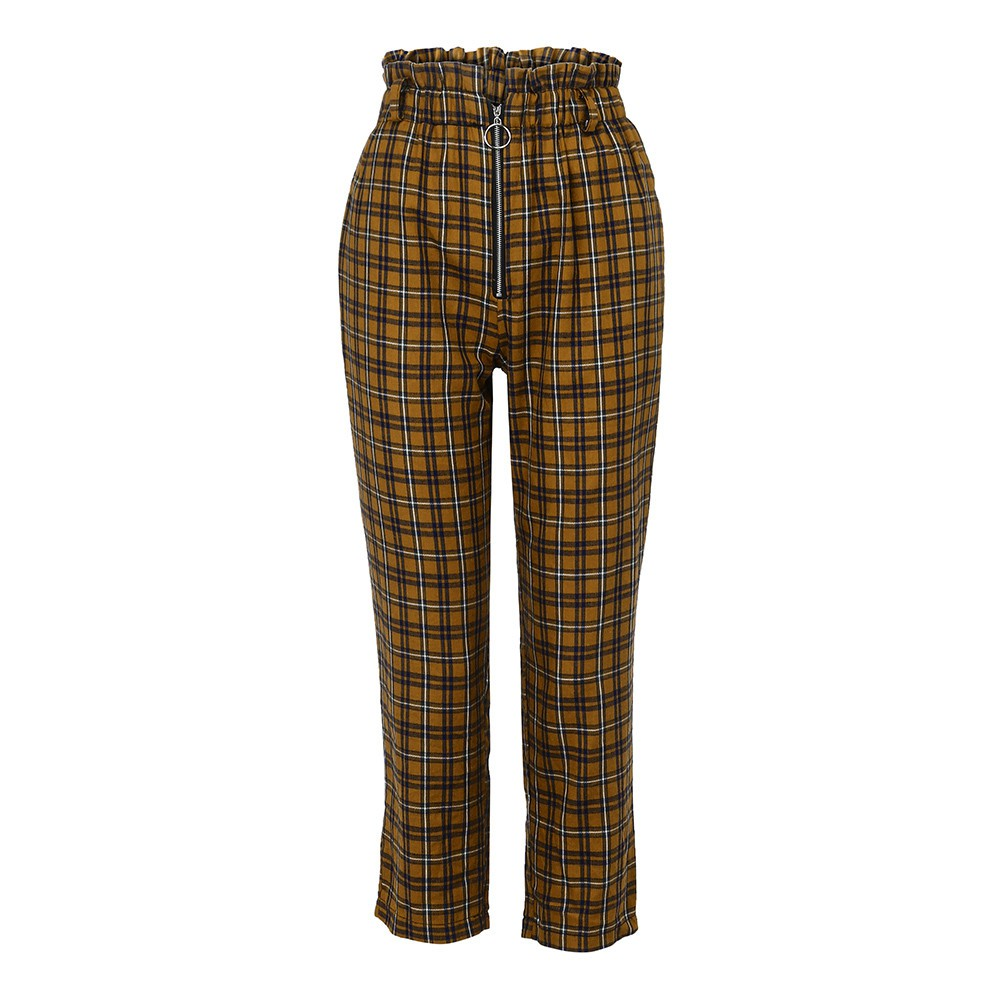 9274abc83cc8 1pc Womens Elastic Waist Casual Pants Shein Exposed Zip Fly Plaid Peg Pants  | Shopee Malaysia