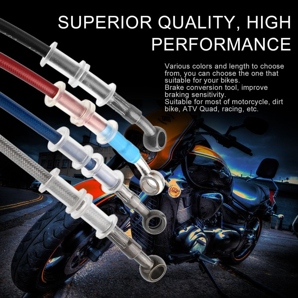 200cm Motorcycle Braided Steel Brake Clutch Oil Hose Line Pipe for Motorcycle Pit Dirt Bike Enduro Motocross Street Bikes 50cm Motorcycle Oil Hose 500mm-Blue