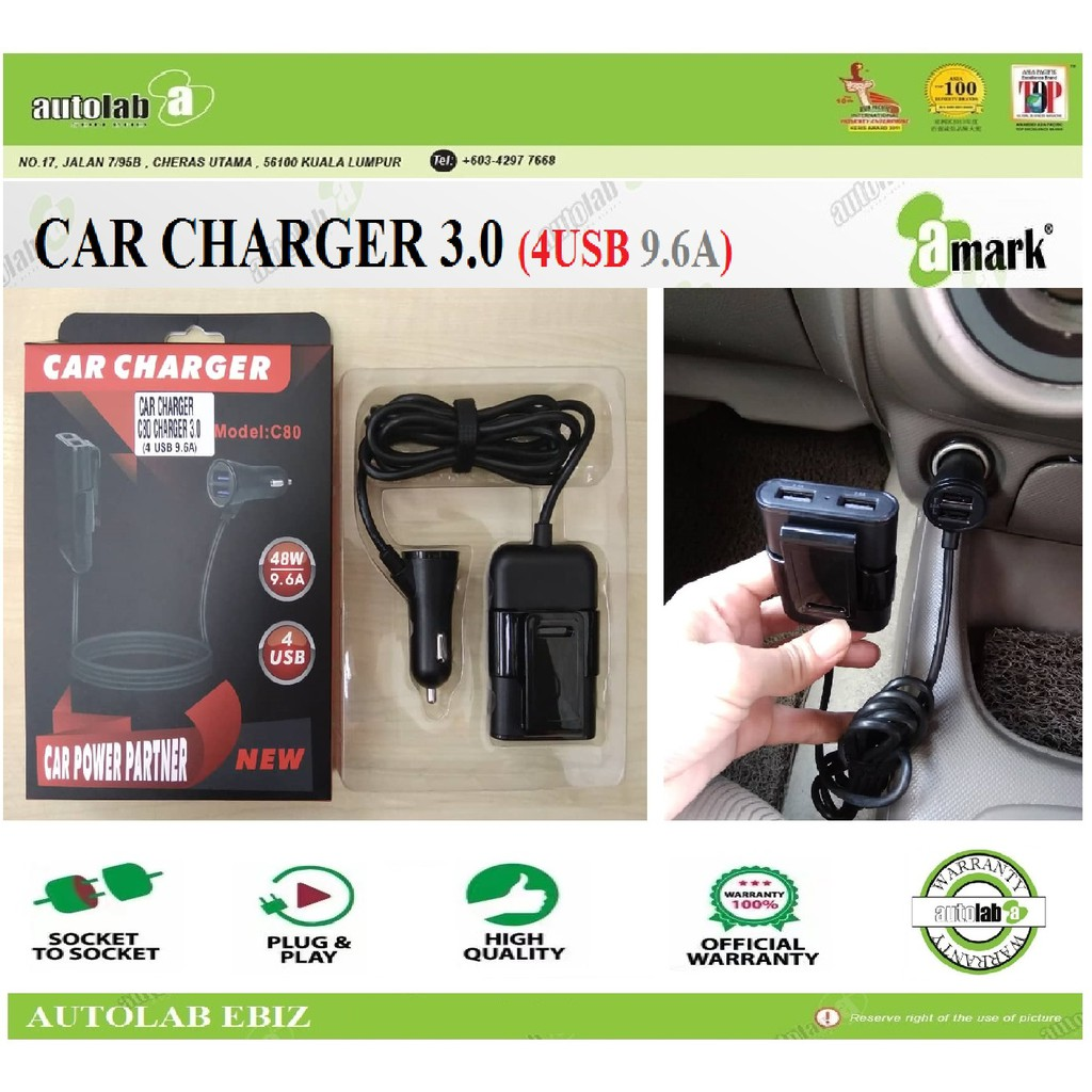 Car Charger 4 Port USB Universal Quick Charge 3.0