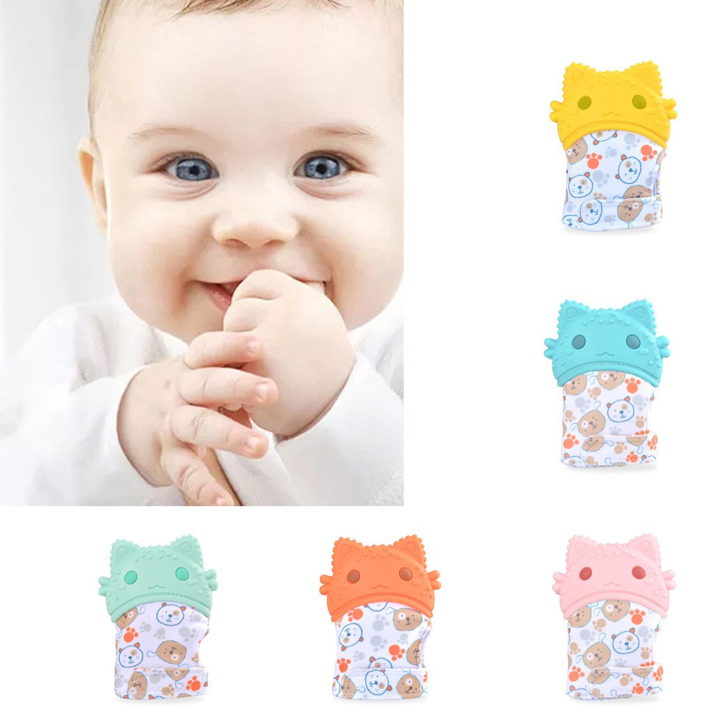 Baby Silicone Mitts Teething Mitten Cat Shape Molar Glove Wrapper Soft Teether