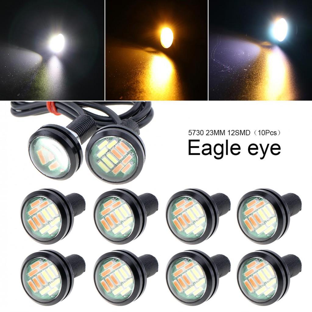 10 Pcs 23mm Eagle Eye 12 LED High Power 4014 Dual Color 12V Car Fog DRL Bulb