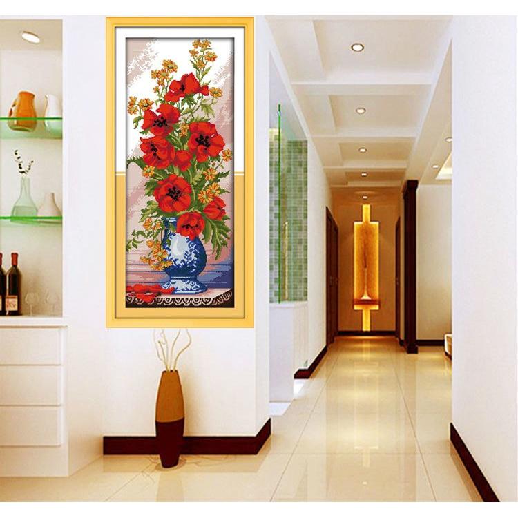 Poppy Celadon Vase Counted Cross Stitch Diy Kits For Home Decor Needlework Shopee Malaysia