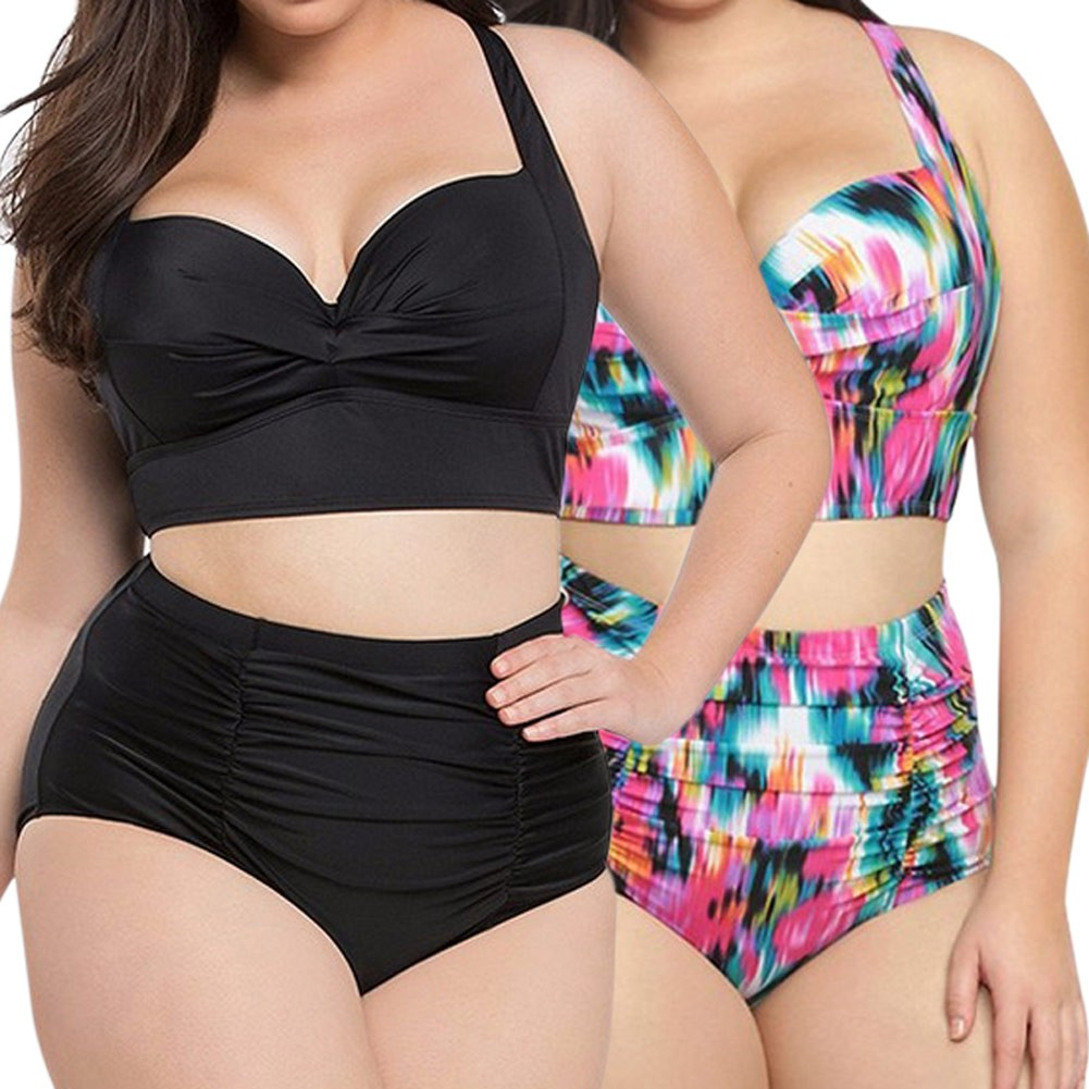 384f91a3d8 ProductImage. ProductImage. Women High Waist Bikinis Set Swimsuit Plus Size  Flower Print Push Up Beach Wear