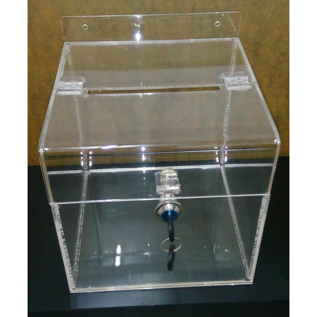 8 x 8 x 8in Wall Hanging Acrylic Suggestion Box With Cam-Lock, 3.0mm