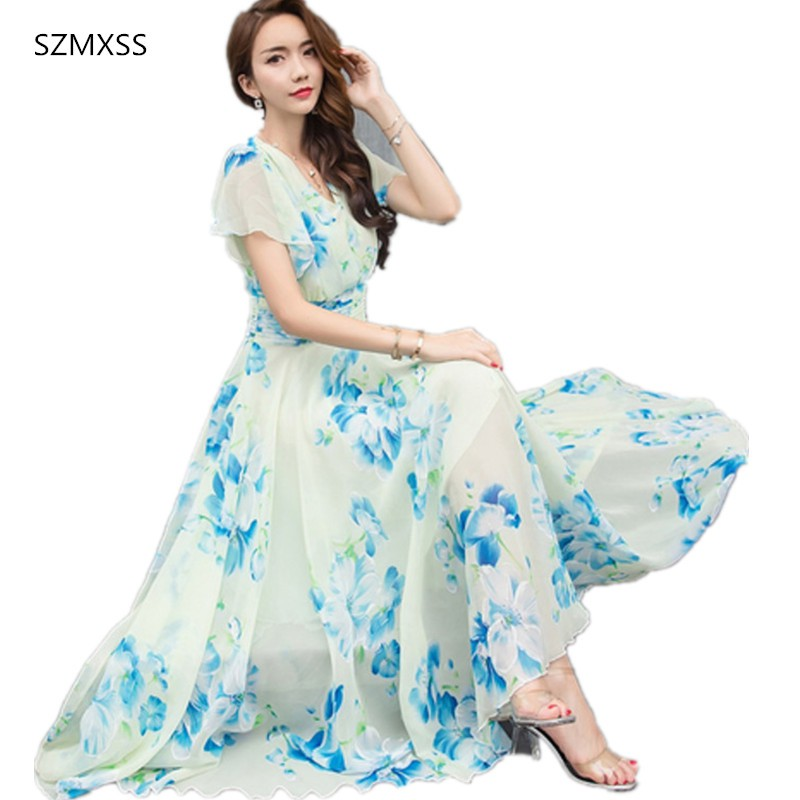 64b78d00027ee Wandergo Summer Maxi Dresses Womens 2019 Short Sleeve White Red Froral  Bohemian