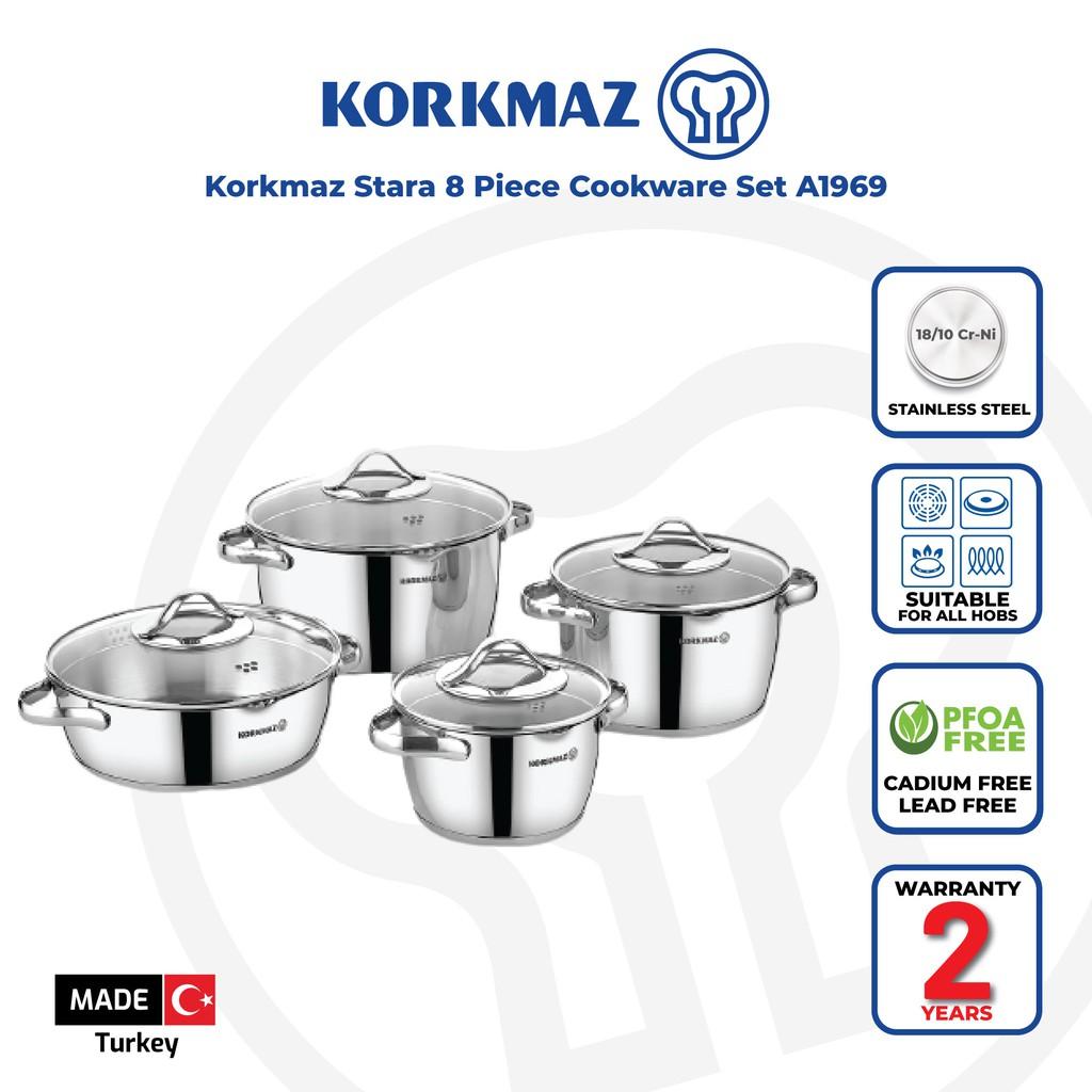 Korkmaz Stara 8 Piece Cookware Set A1969