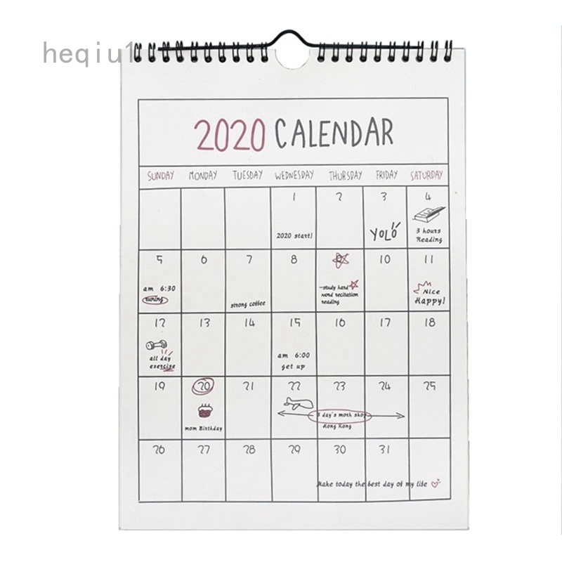 Heqiu1 2020 Calendar Hanging Schedule Memo Monthly Wall